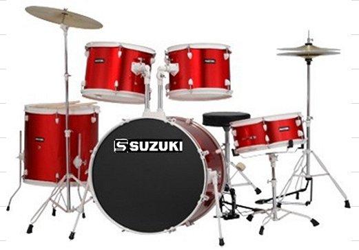 SDS-301MR барабанная установка (14`12`13`16`22`) цвет красный метал,тарелки и стул в комплект