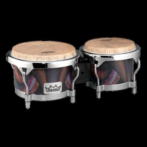 BG-7821-36- Bongo, Drum, Valencia Series, 7/8.5` X 6`, SKYNDEEP® Tucked Drumhead, Calfskin Graphic, Salsa Deco Finish, Chrome Curved Hoops