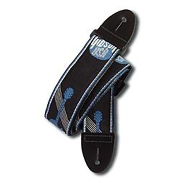 ASGG-800 2` WOVEN STRAP W/GIBSON LOGO STEEL BLUE