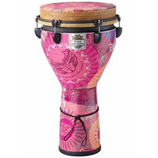 DJ-0012-38- Djembe, MONDO™, Designer Series, Key-Tuned, 12` X 24`, SKYNDEEP®, Contour Tuning Brackets, Warriors In Pink Finish