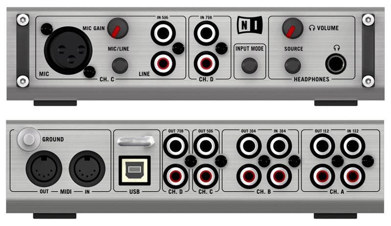 NATIVE INSTRUMENTS AUDIO 8 DJ USB DJ, 24 /96 , 8 ./PHONO RCA , 8 . RCA , / CIRRUS LOGIC, XLR, 1/4` TRS JACK , MIDI /