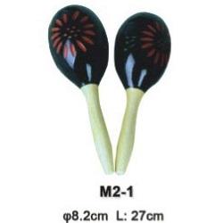 M2-1 Деревянные маракасы на ручке, диаметр 8.2cм, длина 27см