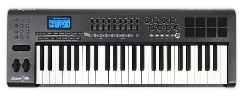 Axiom 49 USB MIDI , 49, 8 , 8 (velocity-sensitive), LCD , Ableton Live Lite 4.