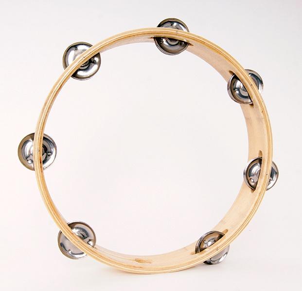 DADI HLT-101 Тамбурин круглый без кожи 10` деревянный, 1 ряд бубенцов