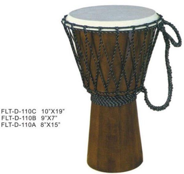 FLT-D-110C Джембе, прямой конус 10`х19`, веревочный бандаж, темный натуральный цвет