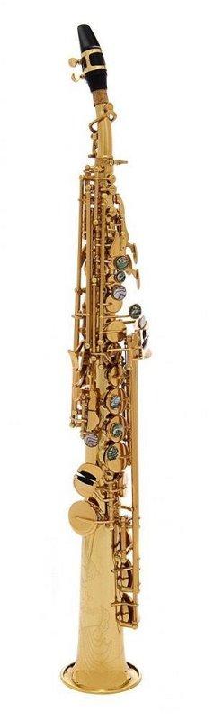 JP043G Саксофон сопрано Bb, золотой лак, студенческая модель, прямая и изогнутая головки в комплекте, позолоченная.