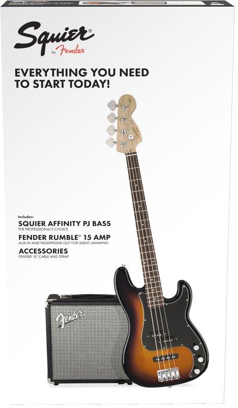 Squier Affinity Series™ Precision Bass® PJ Pack, Laurel Fingerboard, Brown Sunburst, Gig Bag, Rumble 15 - 230V EU