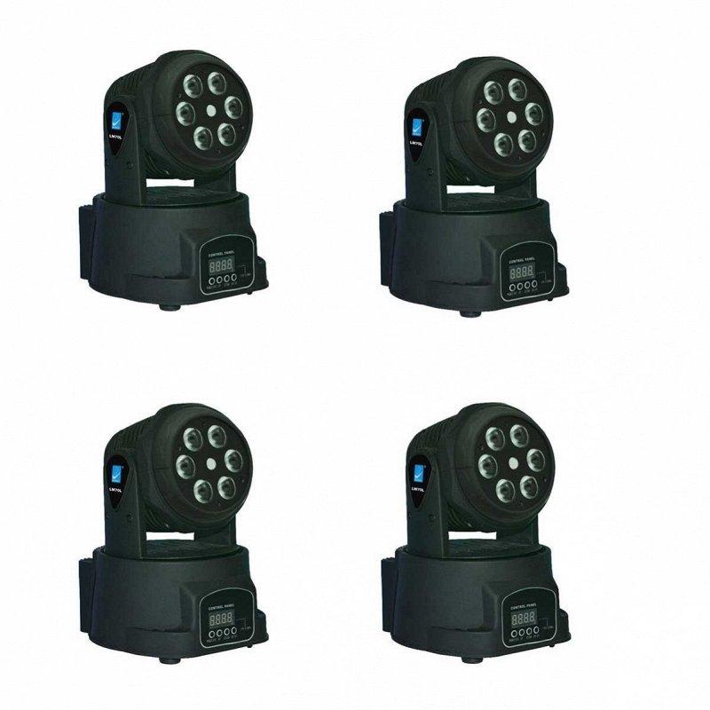 LM70L Комплект из 4 штук моторизированных светодиодных мини-прожекторов с лазером, 6х8Вт