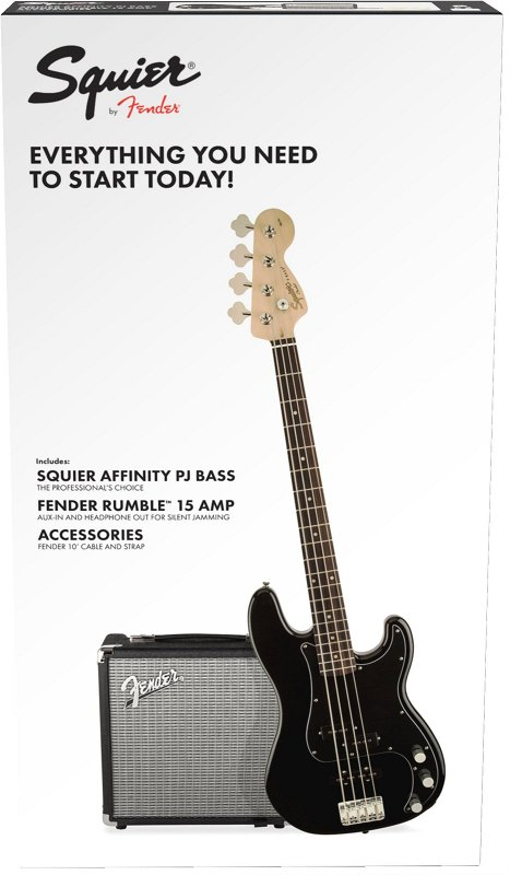 Squier Affinity Series™ Precision Bass® PJ Pack, Laurel Fingerboard, Black, Gig Bag, Rumble 15 - 230V EU фото